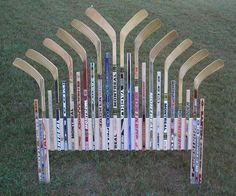 For a hockey theme room . for down the road when i'm a hockey mom Hockey Stick Crafts, Hockey Sticks, Hockey Decor, Sticks Furniture, Furniture Redo, Furniture Ideas, Bedroom Themes, Bedroom Ideas, Bedroom Decor