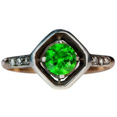 Art Deco Russian Demantoid Diamond Ring