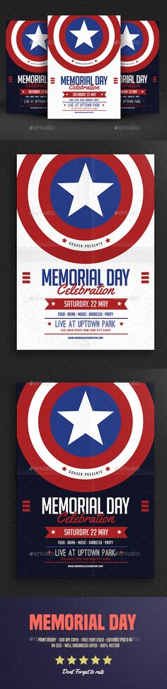 Memorial Day Event Flyer Template PSD. Download here: http://graphicriver.net/item/memorial-day-event-flyer-vol-02/16076240?ref=ksioks