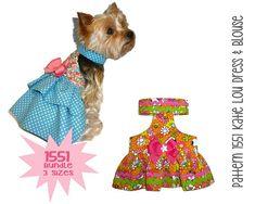 Kati Lou Dog Dress and Dog Blouse Sewing Pattern 1551 - Dog Clothes Patterns - Pet Dog Dresses - Pet Dog Apparel - Pet Harness - Sm & Med Rick Rack, Small Dog Clothes, Pet Clothes, Dog Wedding Attire, Divas, Dog Tuxedo, Pekinese, Dog Clothes Patterns, Sewing Patterns