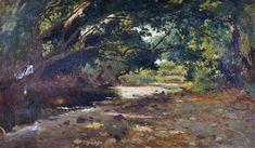 Vertunni Achille (Napoli 1826 - Roma 1897)  Bosco  olio su tela, cm 24x42