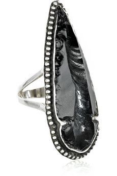 Pamela Love-Sterling silver obsidian arrowhead ring