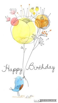 ᐅ happy birthday: the best sayings for birthday! - Happy Birthday: birthday sayings and birthday wishes - Watercolor And Ink, Watercolor Flowers, Art Flowers, Watercolor Paintings, Doodle Art, Flowers Wallpaper, Happy Paintings, Happy Birthday Greetings, Birthday Quotes