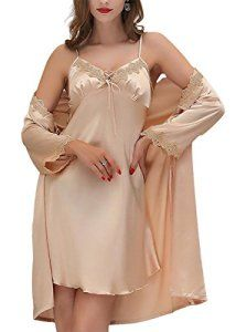 e8e0e78e673ff chemise de nuit romantique · Aivtalk Ensemble 2Pcs Luxe Peignoir avec  Ceinture Satin Robe de Chambre Dentelle Col-V Sexy