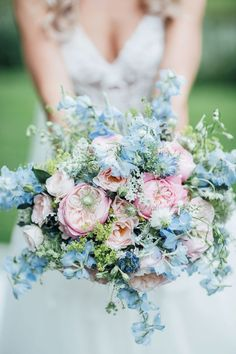 Blush pink and pale blue wedding bouuqet - A Vera Wang Gown for a Whimsical and Romantic Walled Garden Wedding