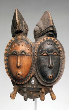 Africa | Mbolo Twin Mask (Nda) from the Baule people of the Bandama River region of the Ivory Coast | Wood, metal | 19th to 20th century