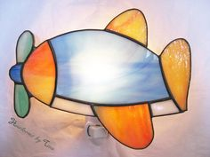 Airplane Stained Glass Night Light by HeirloomsbyTesa on Etsy, $35.00