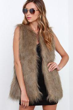 brown fur vest #fall #fashion