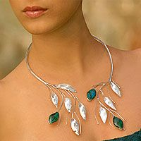 Wrap yourself in this floral chrysocolla necklace by artist Regina Flores.