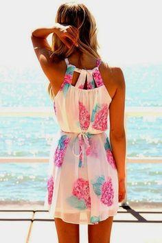 Floral Neck Hold Summer Dress