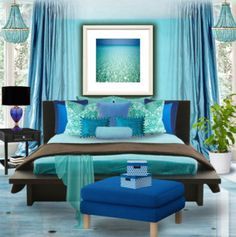 Blue room decorating ideas 2014: turquoise blue and brown bedroom