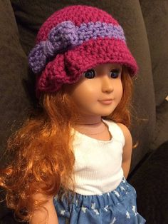 Crochet Charlotte pleated cloche  hat matching set child and