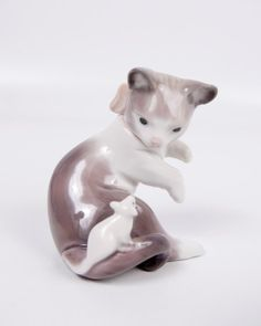 Cat and Mouse Figurine By Lladro 5236 Retired by LeVintageGalleria, $96.00