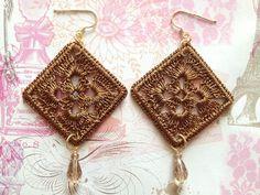 Gold crochet earrings with czech drops silver 925 di Sofiasbijoux, €29.00