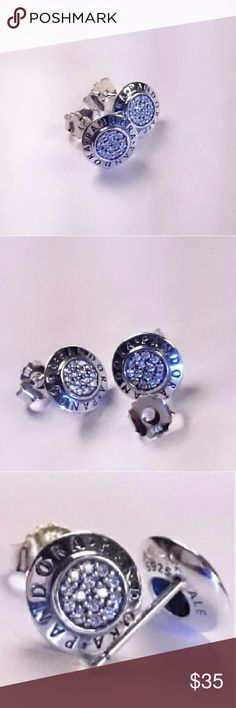 PANDORA SIGNATURE LOGO CZ EARRINGS STUDS AUTHENTIC PANDORA SIGNATUTE LOGO CZ PAVE S925 ALE SOLID STERLING SILVER EARRINGS BRAND NEW PANDORA  Jewelry Earrings