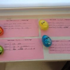 Mystery eggs. Inferring for Easter. Students put an item in their egg and write 3 clues to lead others to infer what's inside. .