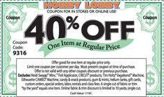 Hobby Lobby 40 Off Coupon Code - http://www.hobbylobby40offcoupon.com/hobby-lobby-40-off-coupon-code/