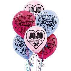 JoJo Siwa Balloons feature the Nickelodeon star's name and popular saying printed on them. Use these balloons to create a balloon bouquet to decorate your daughter's birthday party! Girls Birthday Party Themes, Birthday Supplies, Girl Birthday, Birthday Ideas, Online Party Supplies, Kids Party Supplies, School Supplies, Ballon Rose, Jojo Siwa Birthday