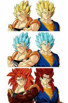 Dragon Ball - Gogeta and Vegito forms Dragon Ball Gt, Dragon Ball Image, Goku E Vegeta, Son Goku, Black Goku, Gogeta Vs Vegito, Akira, Manga Dragon, Fan Art