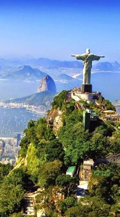 The statue of Christ the Redeemer stands on the 700-meter Corcovado mountain.