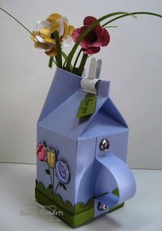 milk box decoration flowers