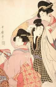 youth & geisha dancing as another geisha plays the shamisen / kitagawa utamaro / 1805