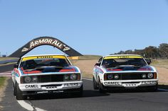 1977 Hardie-Ferodo Colin Bond car 2 and Allan Moffat car 1 , A Win for Ford. Australian Muscle Cars, Aussie Muscle Cars, Gs500, Ford Motorsport, Ford Classic Cars, Classic Auto, The Great Race, V8 Supercars, Bond Cars