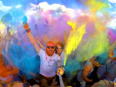 Jake Oakley and the Mrs. take a colorful family self portrait.
