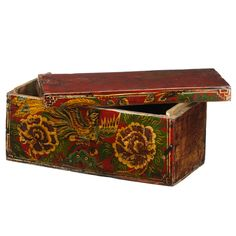These boxes are from the Dongbei region in north east China, each one finished in red lacquer and beautifully painted with designs that include pheonixes and peony flowers - symbols for good fortune and female beauty. The boxes were traditionally presented in pairs by a mother to her daughter on her wedding day, together with jewellery that would be placed inside.
