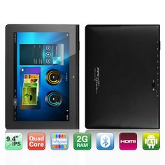 PiPo M8 Pro 9.4 Inches IPS Android 4.1 Quad Core Rockchip RK3188 1.4GHz Tablet PC with 2GB RAM 16GB Memory Bluetooth Wi-Fi HDMI OTG Dual Camera (Onyx black)