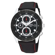 Lorus Men's Black And Red Chronograph Strap Watch from H Samuel