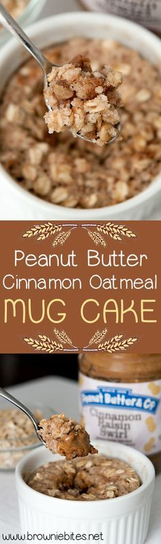 My new favorite mug cake! Egg free batter that does not get rubbery in the microwave - full of cinnamon-y oats and a warm melted core of peanut butter.