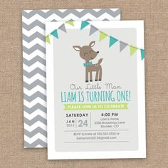 Boy Deer First Birthday Invitation Chevron Lime by JessicasInvites