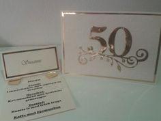 Guldbryllups invitation og bordkort