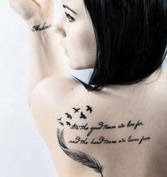Feather and Flying Birds And Script Grey ink Tattoo on Back