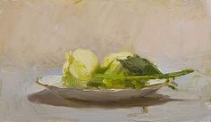 Two roses on a gold rimmed saucer A Daily painting by Julian Merrow-Smith