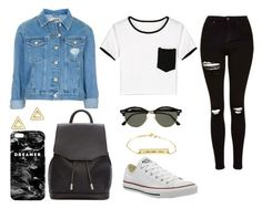 """""""Denim Jacket"""" by anoukvos ❤ liked on Polyvore featuring Topshop, rag & bone, Converse, Ray-Ban, Mr. Gugu & Miss Go and Mateo"""