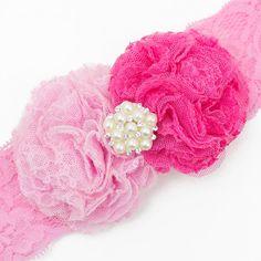 Baby haarbandje kanten bloemen en parel applicatie (lichtroze/roze)