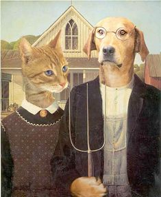 Ancient animal ancestors: historical portraits of cats and dogs American Gothic Painting, American Gothic House, American Gothic Parody, Grant Wood, Art Grants, Graffiti, Famous Art, Art Institute Of Chicago, Gothic Art