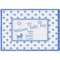 Welcome Baby Boy Art Tapestry Mini Throw