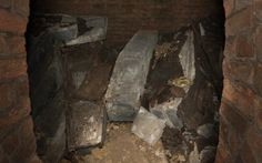 The archbishops' lead coffins in the hidden crypt