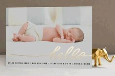 Stringed Hello Foil-Pressed Birth Announcements by Moglea at minted.com