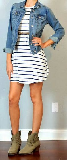 Great casual look. Love the jean jacket. And I like the light dress with dark stripes.