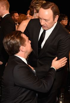 Leo & Kevin Spacey - Winners! The House of Cards star, who won best TV actor, had a moment with Leonardo. (Photo: Getty Images