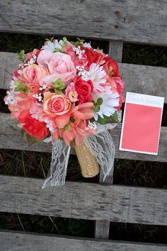 coral and burlap wedding bouquets, coursages, boutonnieres Prom Bouquet, Summer Wedding Bouquets, Summer Wedding Colors, Corsage Wedding, Bride Bouquets, Flower Bouquet Wedding, Floral Wedding, Camo Wedding, Wedding Dresses