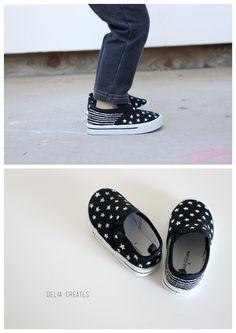 DIY Painted Canvas Sneakers // Delia Creates