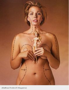 The Barbie Distortion. Model Katie Halchishick displays the surgery that would be needed to make her look like Barbie