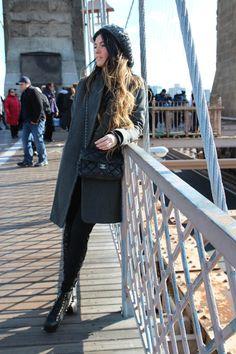 zara coat & pullover, jeffrey campbell shoes, primark hat, chanel bag, 1/6/12