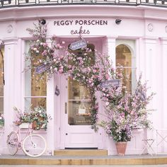 The new @peggyporschenofficial look, installed for the launch of the Chelsea Flower Show, complete with a custom Peggy pink bike by @pashleycycles. Lovely to be invited today to join my dear friends @therollinsonlondon and @victoriametaxas to sample the new rose and lemon cupcake collaboration with @jolovesoffical, and to meet Peggy herself. Life is beautiful and precious, sending much love to all, and my heart goes out to those affected here in England.