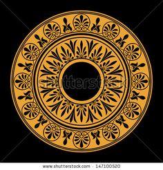 Round frame, rosette of ancient elements. Greek Pattern, Greek Art, Round Frame, Gourd Art, Paper Quilling, Rosettes, Decoupage, Pattern Ideas, Patterns